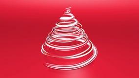 Ett skinande festligt band bildar ett julgransymbol som roterar 3d framför av ljus saftig sammansättning för jul stock video