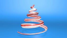 Ett skinande festligt band bildar ett julgransymbol som roterar 3d framför av ljus saftig sammansättning för jul lager videofilmer