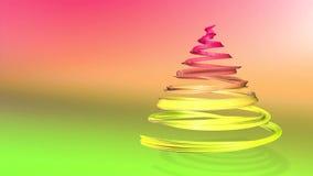 Ett skinande festligt band bildar ett julgransymbol som roterar 3d framför av ljus sammansättning för jul seamless lager videofilmer