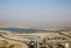 Ett skott av en stor stormby som att närma sig Dubai under dagen Arkivbilder
