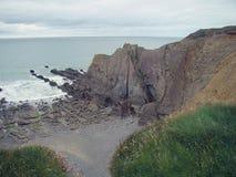 Ett skott för stenig strand med gräs i förgrunden Arkivbild
