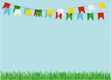 Ett skyddande kort eller inbjudan för en ferie Grönt gräs Arkivfoton