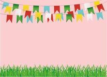 Ett skyddande kort eller inbjudan för en ferie Grönt gräs och girland stock illustrationer