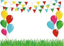 Ett skyddande kort eller inbjudan för en ferie Grönt gräs och girland royaltyfri illustrationer