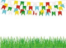 Ett skyddande kort eller inbjudan för en ferie Grönt gräs och gräs royaltyfri illustrationer