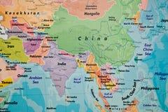 Kartlägga av Asien Royaltyfria Foton