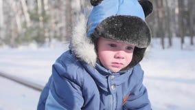 Ett småbarn går i vintern parkerar Solig frostig dag Skoj i den nya luften stock video
