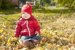 Ett småbarn i ett rött omslag sitter på stupade höstsidor Royaltyfri Foto