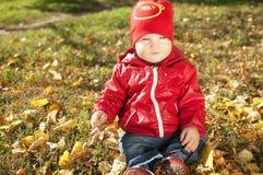 Ett småbarn i ett rött omslag sitter på stupade höstsidor Royaltyfria Bilder