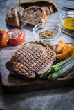 Ett smakligt kokkonstfoto av nötköttbiff Arkivfoto