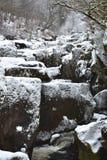 Ett snöig landskap med en ström, stora stenar och en snö täckte träd Arkivfoto