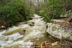 Ett snabbt rörande berg Rocky Stream i det Goshen passerandet, Virginia arkivbild