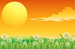 Ett solnedgånglandskap och den peacful bergstoppet Arkivbilder