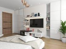 Ett sovrum med en sikt av TV:N Royaltyfria Foton