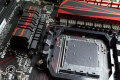 Ett ställe för CPUen och bron i moderkortet ASUS stänger sig Royaltyfria Foton