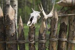Ett staket som göras av journaler Arkivbild