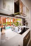 Ett stilfullt modernt härligt kök royaltyfria foton