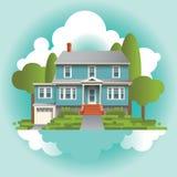 Ett stiliserat pittoreskt hem stock illustrationer