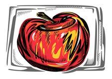Ett stiliserat rött äpple i ram Arkivbild