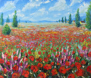 Ett stort fält av röda blommor, moln vektor illustrationer
