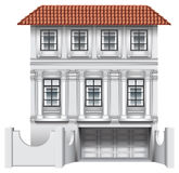 Ett stort hus med ett garage Arkivfoto
