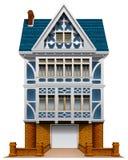Ett stort hus med ett garage Royaltyfri Fotografi