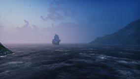 Ett stort medeltida skepp i havet i dimmaflötena till en stenig ö för öken framförande 3d arkivfoton