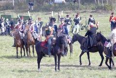 Ett stridögonblick Hästryttare på stridfältet Fotografering för Bildbyråer