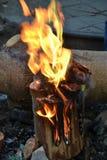 Ett stycke av brinnande trä royaltyfria foton
