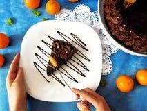 Ett stycke av chokladostkaka på en platta Arkivfoto