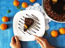 Ett stycke av chokladostkaka på en platta Arkivbild