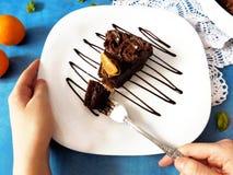 Ett stycke av chokladostkaka på en platta Arkivfoton