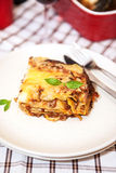 Ett stycke av lasagner bolognese Royaltyfria Foton