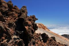 Ett stycke av lava på vulkan Teide Arkivfoton