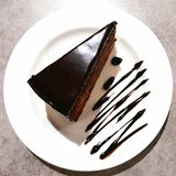 Ett stycke av Sacher för ` för chokladkaka `, arkivbild