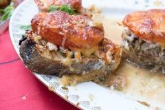 Ett stycke av torskfisken som bakas med tomater och ost på en platta royaltyfria bilder