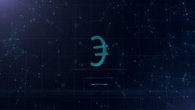 Ett superb tecken för euro 3d Blå cyberspacebakgrund för utrymme med internetuppkopplingar Eurovaluta är på faktiska tre vektor illustrationer