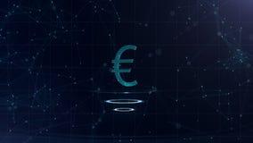 Ett superb tecken för euro 3d Blå cyberspacebakgrund för utrymme med internetuppkopplingar Eurovaluta är på faktiska tre royaltyfri illustrationer