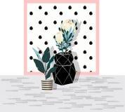 Ett svart exponeringsglas av kruset och liten strirp lägger in med vatten och blomman stock illustrationer