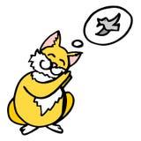 Ett tecken är en röd katt som drömmer av en fågel illustration Fotografering för Bildbyråer