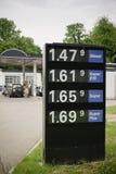 Ett tecken med bensinpriser Arkivfoto