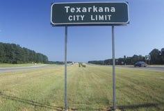 Ett tecken som läser för den Texarkana för ï¿ ½ för Limitï staden ½ ¿ Arkivbilder