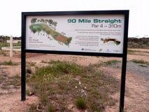 Ett tecken som visar på ett av de 18 hålen av beläget för störst golf för världs` s det grova Royaltyfri Bild