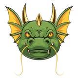 Ett tecknad filmhuvud av drakemaskot royaltyfri illustrationer