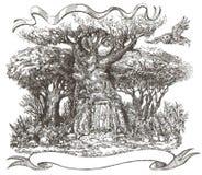 Ett träd i en felik skog, en dörr till en skogsaga Fotografering för Bildbyråer