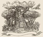 Ett träd i en felik skog, en dörr till en skogsaga Arkivbilder