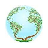 Ett träd som stiliseras i form av planetjord också vektor för coreldrawillustration Royaltyfria Bilder