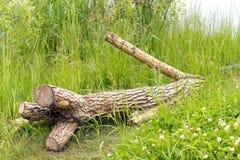 Ett träd utan filialer är (avverkningen) på det gröna gräset All br Arkivbilder