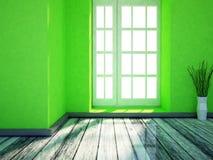 Ett trevligt rum med det stora fönstret stock illustrationer