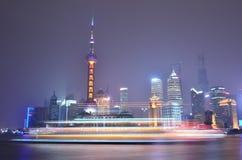 Natt Shanghai Fotografering för Bildbyråer